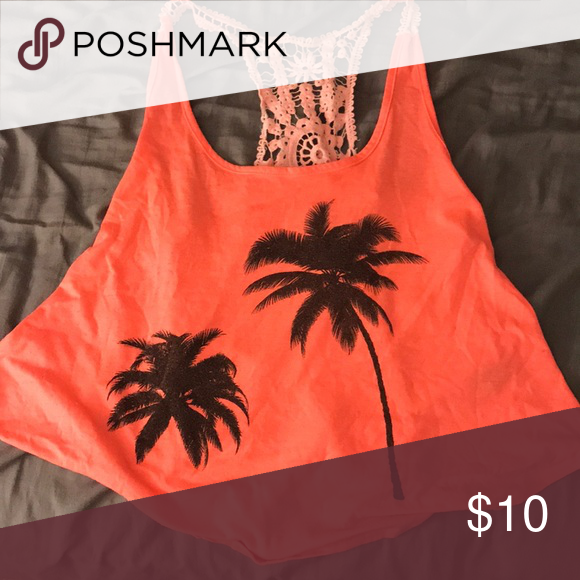 8dea8e84a7a3c5 full tilt tank top Lace back with palm trees on the front. Kind of a