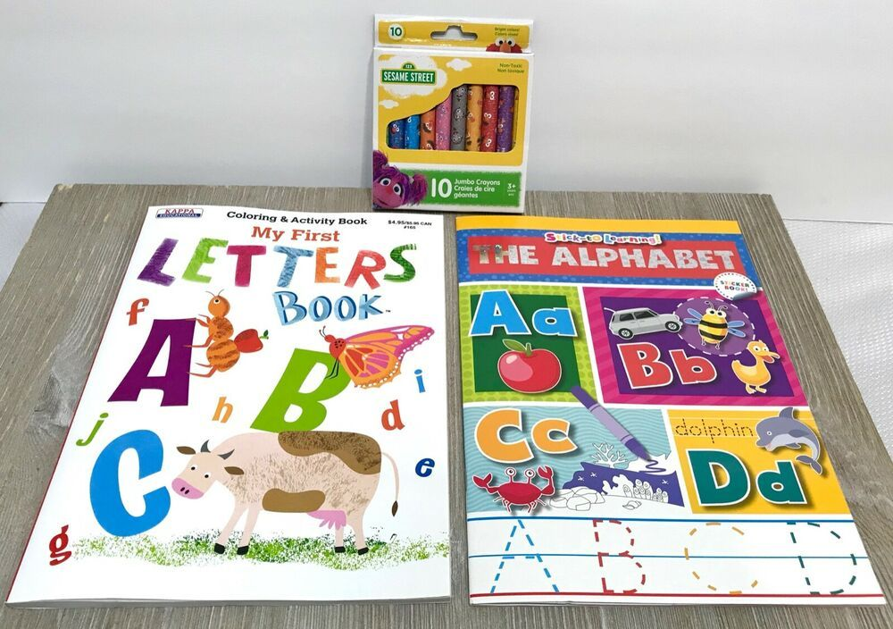 3 Lot My First Letters Coloring The Alphabet Sticker Activity Books Crayons In 2020 Alphabet Stickers Book Activities Alphabet
