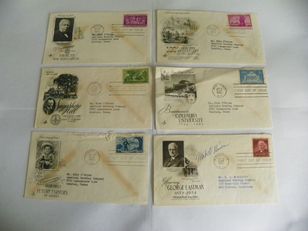 FOURTEEN (14) FIRST DAY OF ISSUE ENVELOPES 1952-1954 POSTAL POST OFFICE 3 CENTS