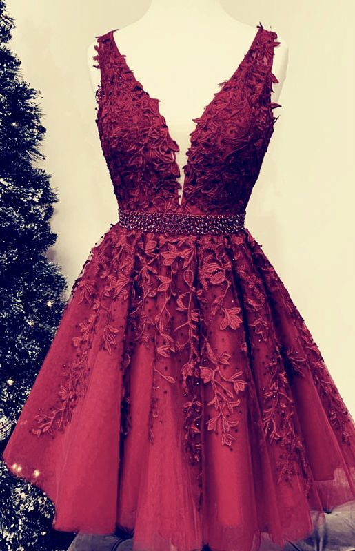 Short Tulle Prom Homecoming Dresses Lace Embroidery – slayingdress -