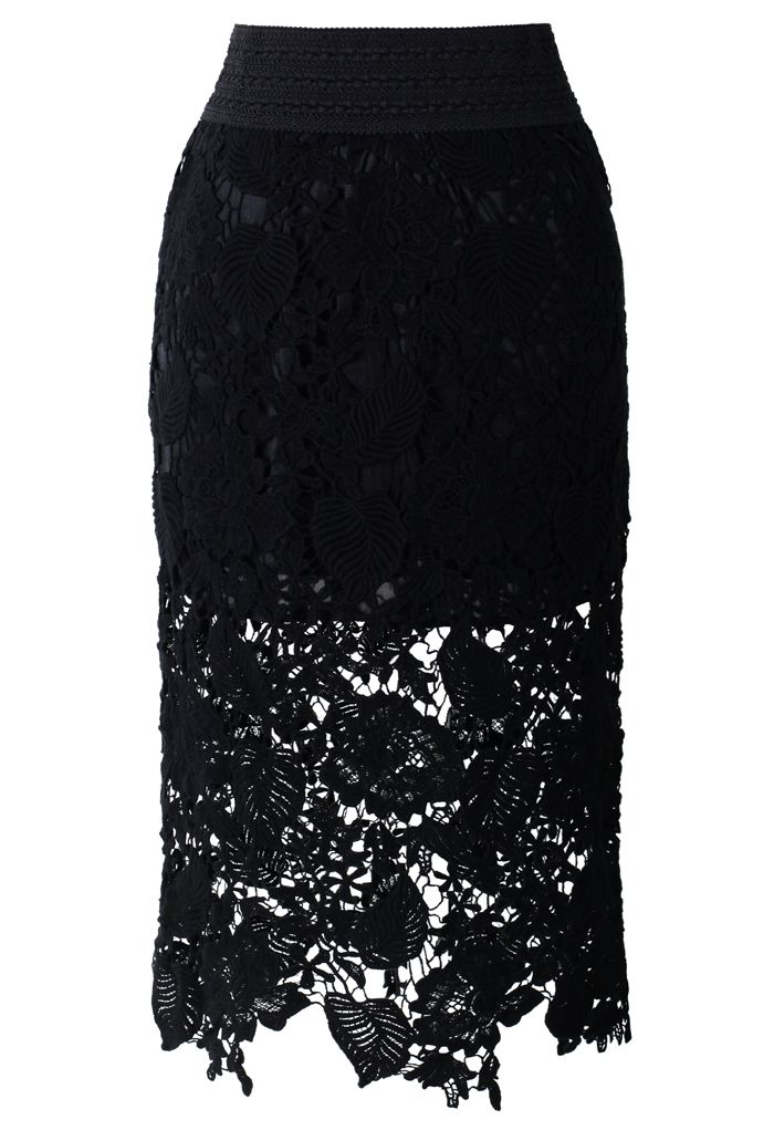 Floral and Leaves Crochet Pencil Skirt in Black #LuckyBSummer