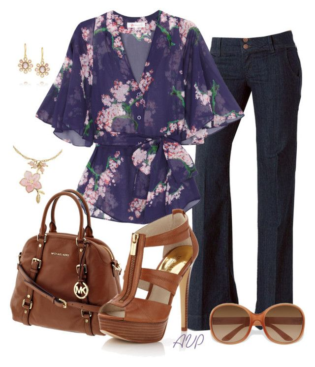 """""""Trouser Jeans - Spring Blossoms"""" by amy-phelps ❤ liked on Polyvore featuring moda, JULIANNE, Pippa Small, Project D London, People Tree, MICHAEL Michael Kors e Prada"""