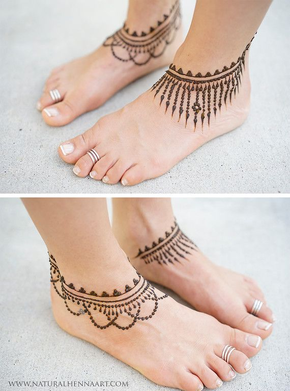 Mehndi Designs For Feet Simple : Simple ankle henna inspiration feet legs