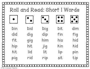 This Roll And Read Short I Words Center Activity Contains Three Game