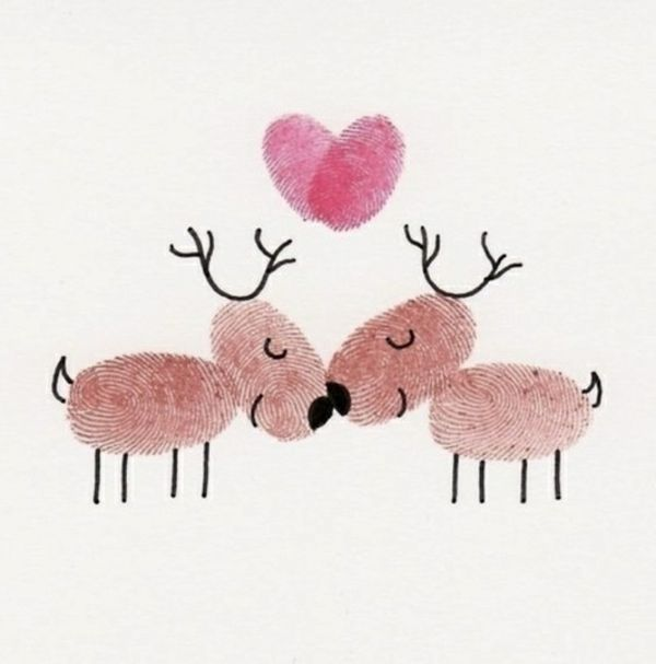 Bastelideen zu Weihnachten - dekorieren Sie dezent Ihr Zuhause #weihnachtsgeschenkideen bastelideen weihnachten weihnachtskarte hirsche fingerabdrücke