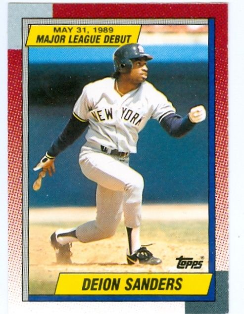 Deion Sanders Cards Deion Sanders Baseball Card 1989 Topps Debut 108 Yankees Football Baseball Cards Baseball Sports Cards