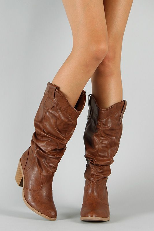 This Italian It Girl Is Your New Style Muse: Qupid Muse-01 Western Cowboy Slouchy Knee High Boot WANT