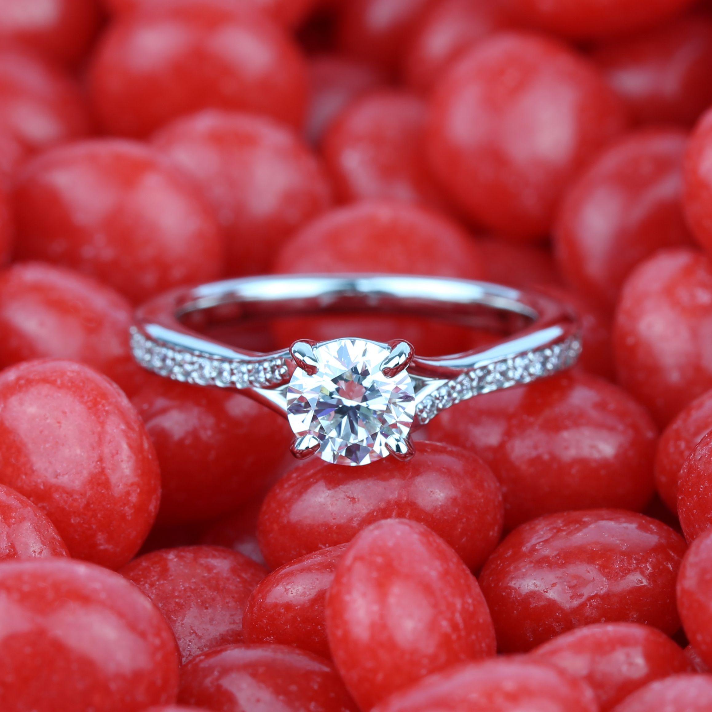 Split Shank Micropave Diamond Engagement Ring in Palladium (0.70 ct ...