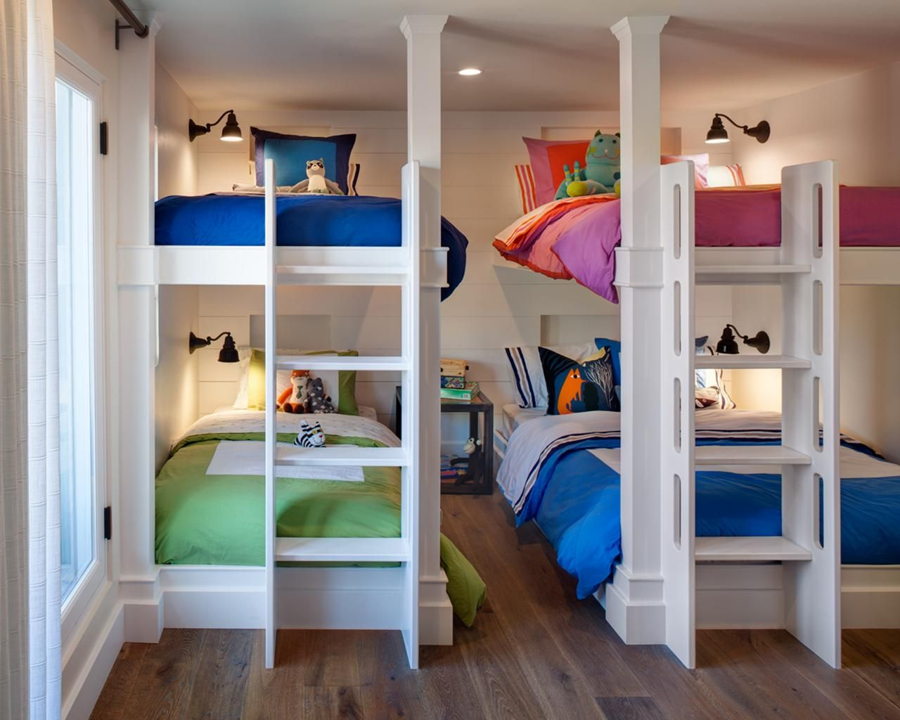 Neutral Kids Room With Multiple Bunk Beds Shared Kids Room Kid Beds Shared Bedroom