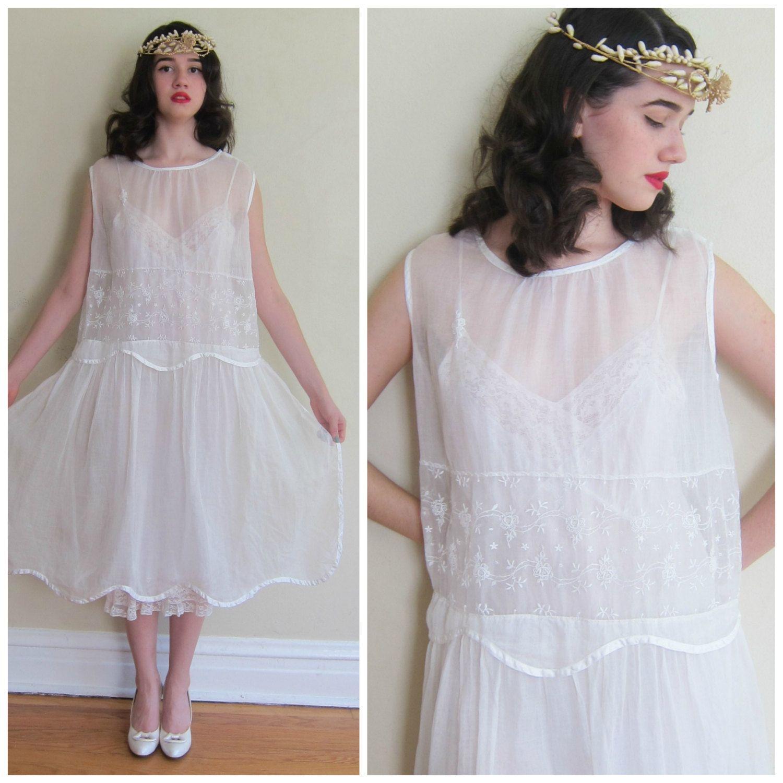 Vintage 1920s White Silk Dress / 20s Sheer Organza Shift