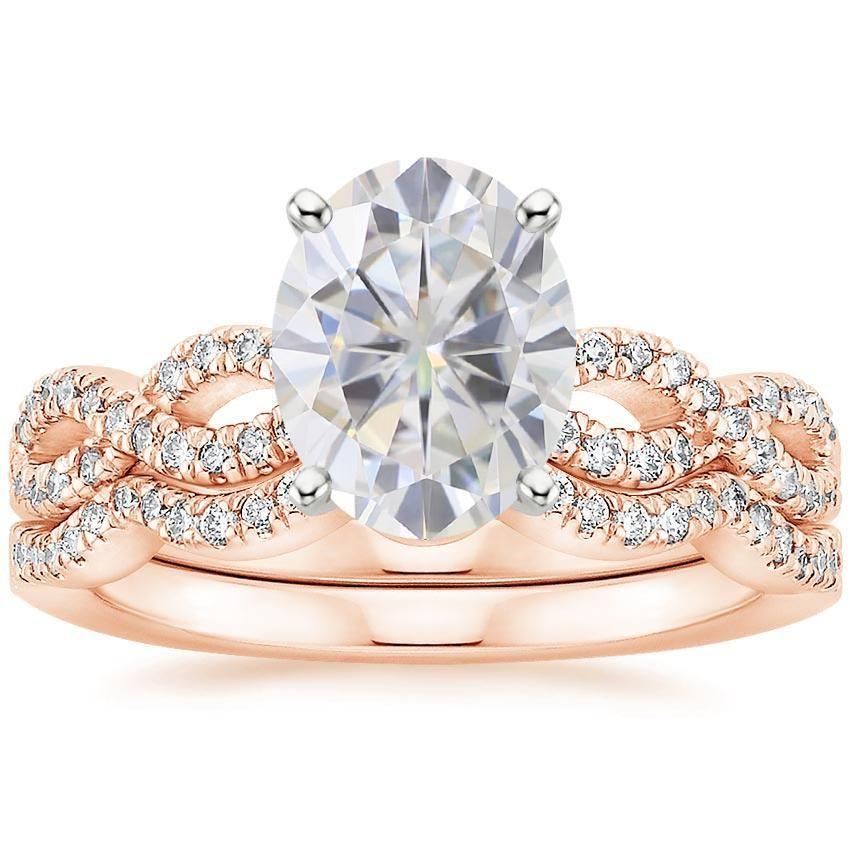 14k rose gold moissanite infinity diamond bridal set 13