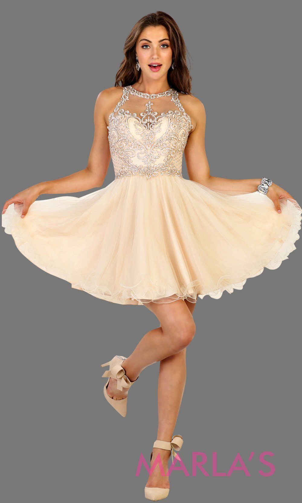 f6b81ca7d4 Short high neck puffy champagne dress with lace top. Perfect for grade 8  grad