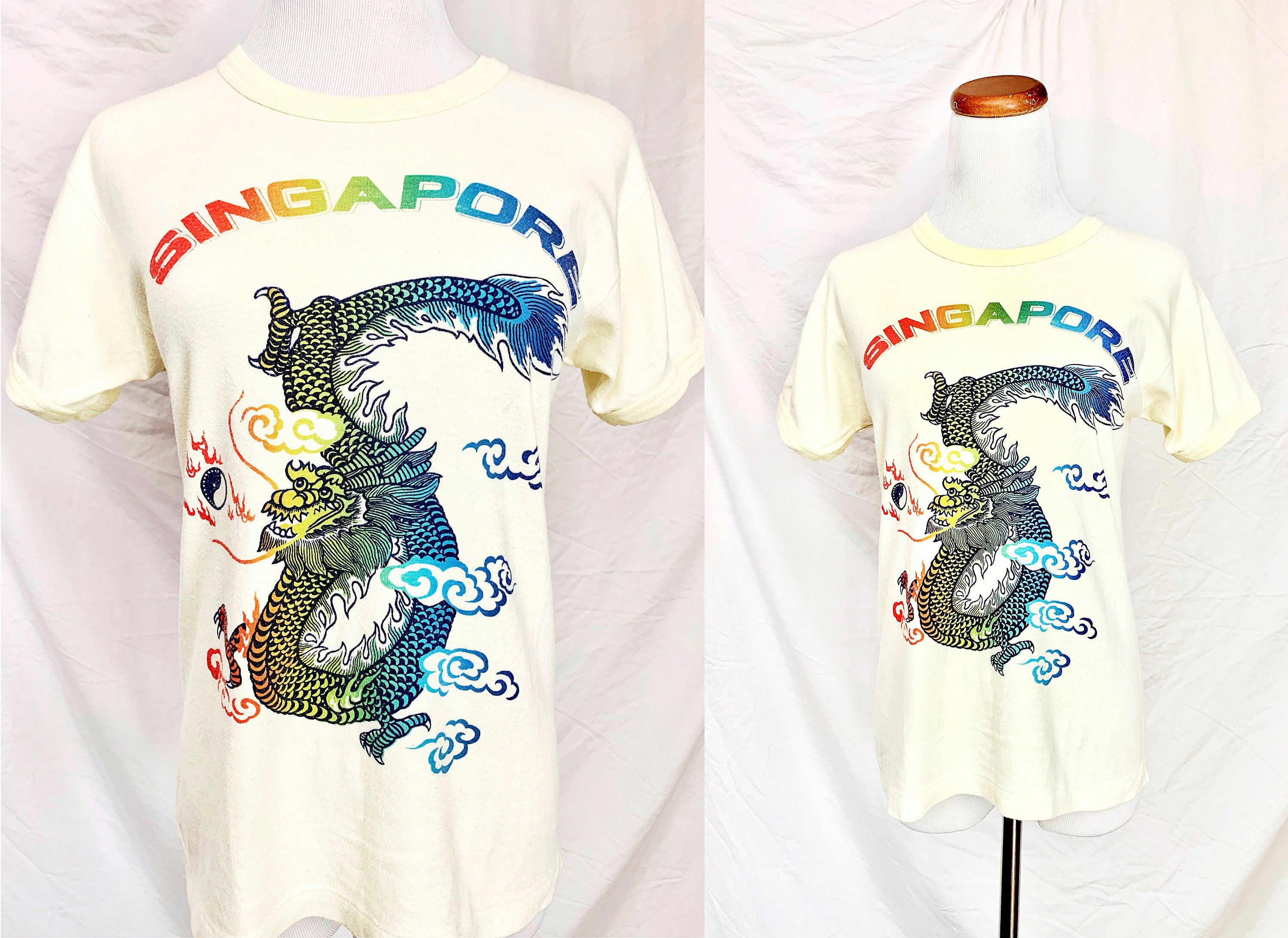 Singapore Dragon 1970 S T Shirt Vintage 70s Graphic Tee Size Small Vintage Outfits Women Fashion