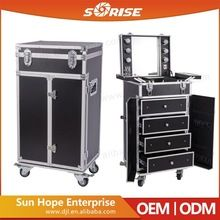 2016 Best Selling High Quality Sunrise PVC Professional 4 Drawers Makeup Trolley Case With Lighted Mirror