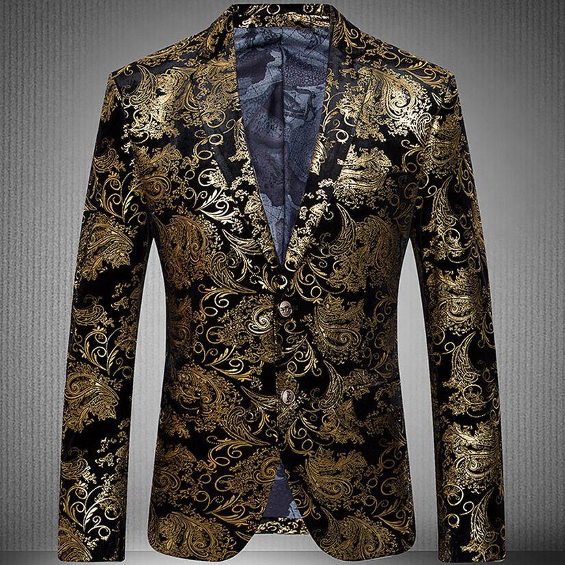 65ca6cec0450b Mens Blazer 2016 New arrival Gold Suit Jacket Men Paisley Blazer Velvet  Wedding Dress Stage Two Button Men Suit-in Blazers from Men s Clothing    Accessories ...