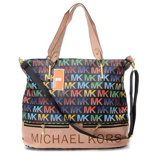 Michael Kors Classic Monogram Large Black Multicolor Totes Outlet Tote Bags Mk