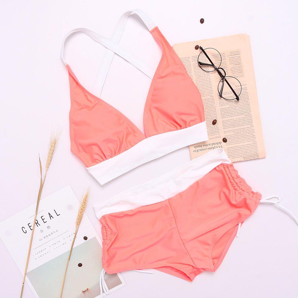e3831b3bbf Plus Size Patchwork Criss-Cross Back Sexy Bikini Suit Swimwear ...