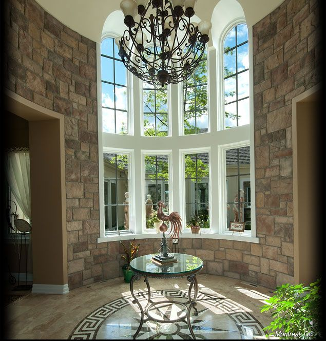 House Foyer Features : Cultured stone for exterior chardonnay