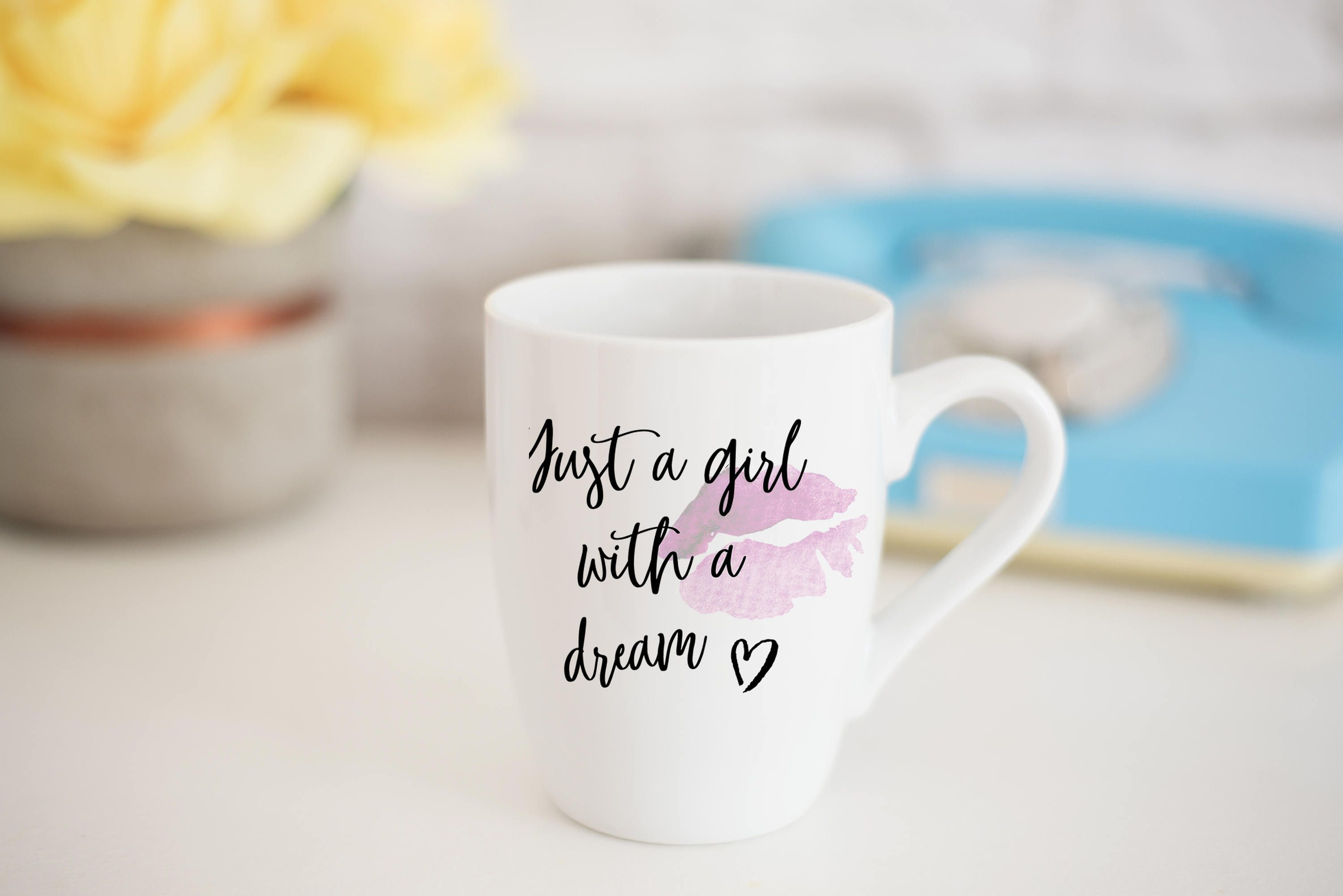 Just A Girl With A Dream Quote Coffee Mug Cute Typography Gift Mug Typography Mug Funny Gag Gift Mug Gif Coffee Quotes Gifts In A Mug Gag Gifts Funny