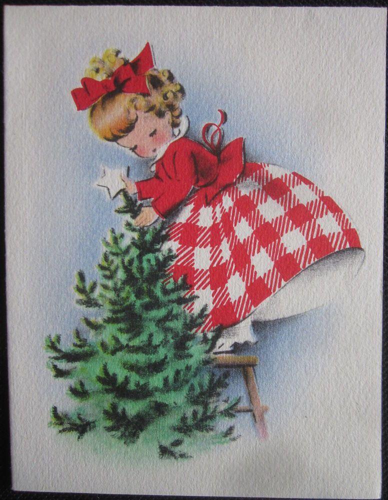 Vintage Christmas Greeting Card Gingham Girl Tree Topper Norcross