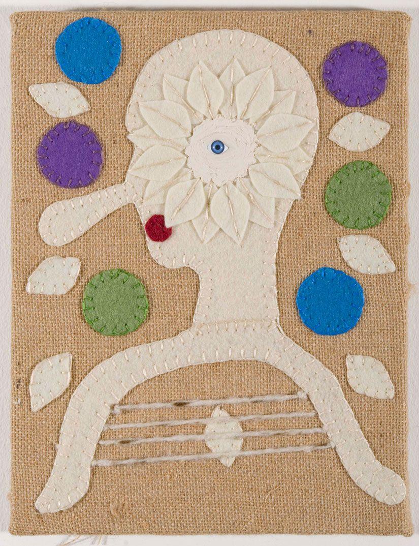 Jonathan Baldock - The Pipe Player 2011  Hessian, silk thread, doll's eye, sculpey, acrylic paint.