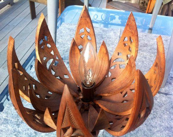Vintage Hand Carved Wood Lotus Flower Lamp Etsy Flower Lamp Hand Carved Wood Wood Flowers