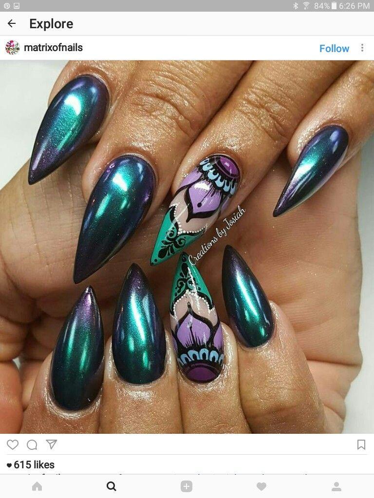 Pin de ♥☆MAL☆♡ en Stiletto Nail Art   Pinterest   Aries y Sirenitas