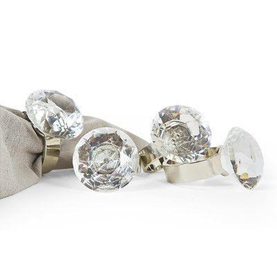 Manor Luxe Bling Diamond Engagement Ring Metal Napkin Ring