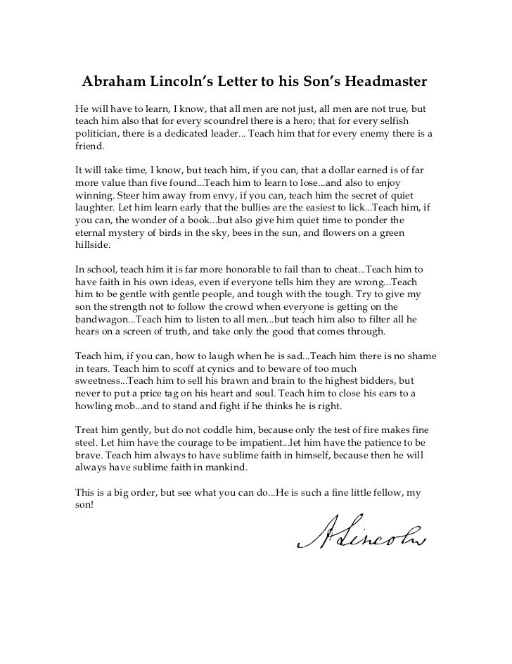 Abe lincolns letter to his sons headmaster first day pinterest abe lincolns letter to his sons headmaster expocarfo