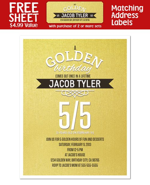 8 GOLDEN BIRTHDAY Party Personalized INVITATIONS – Golden Birthday Invitation