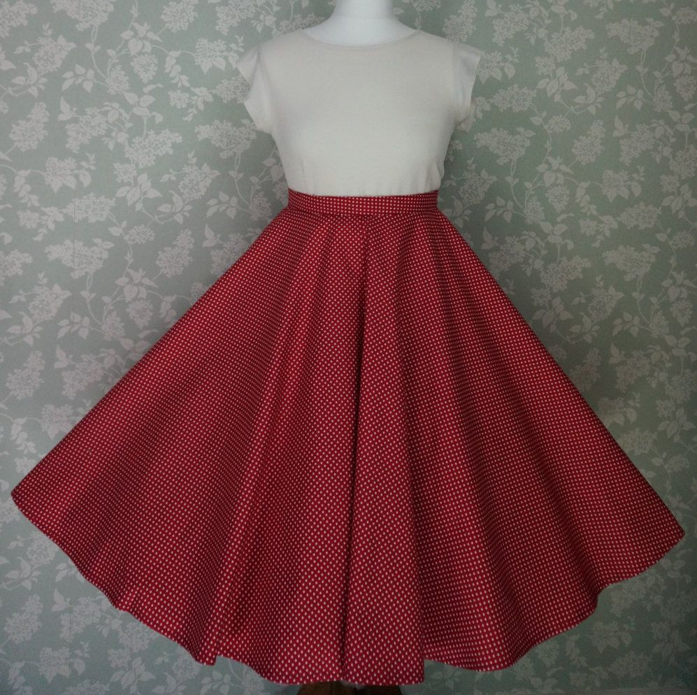 vintage style swing skirt, circle skirt, red spotty, waist 32 handmade by Katie Stevens