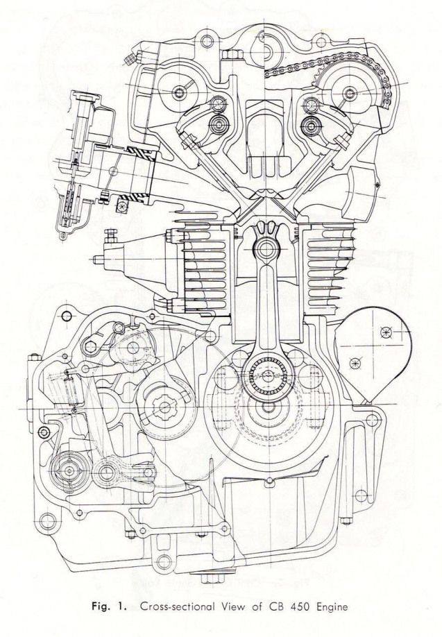 Cb450 K0 Engine Cross Section Drawing Illustration Design Motorcycles Motos Caferacerpasion Com Engine Motorcycle Engine Bike Drawing Motorcycle Drawing