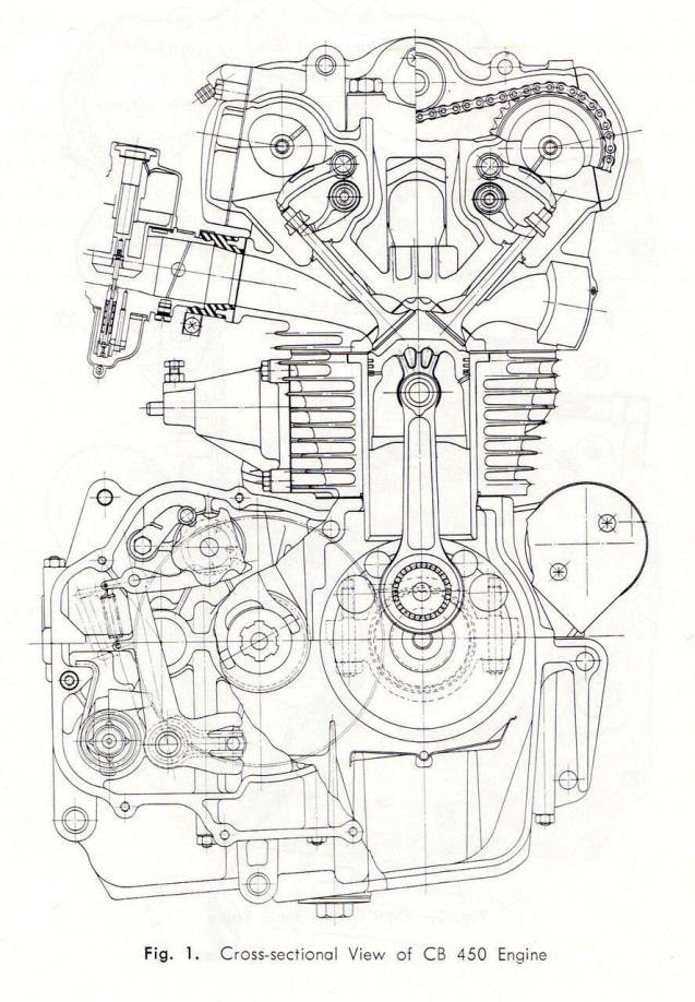 CB450 K0 engine cross-section drawing #illustration #