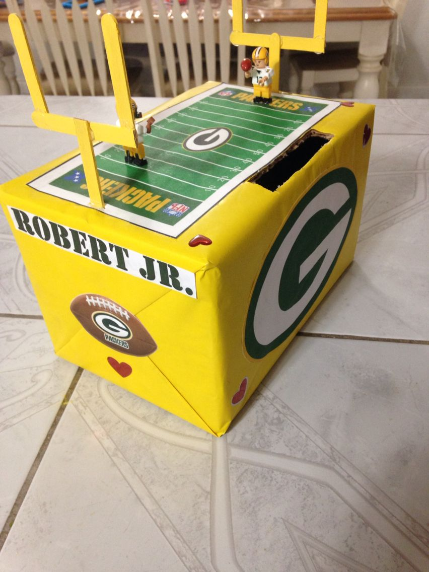 Packers Valentines Box Boys Valentines Boxes Valentines For Boys Kids Valentine Boxes