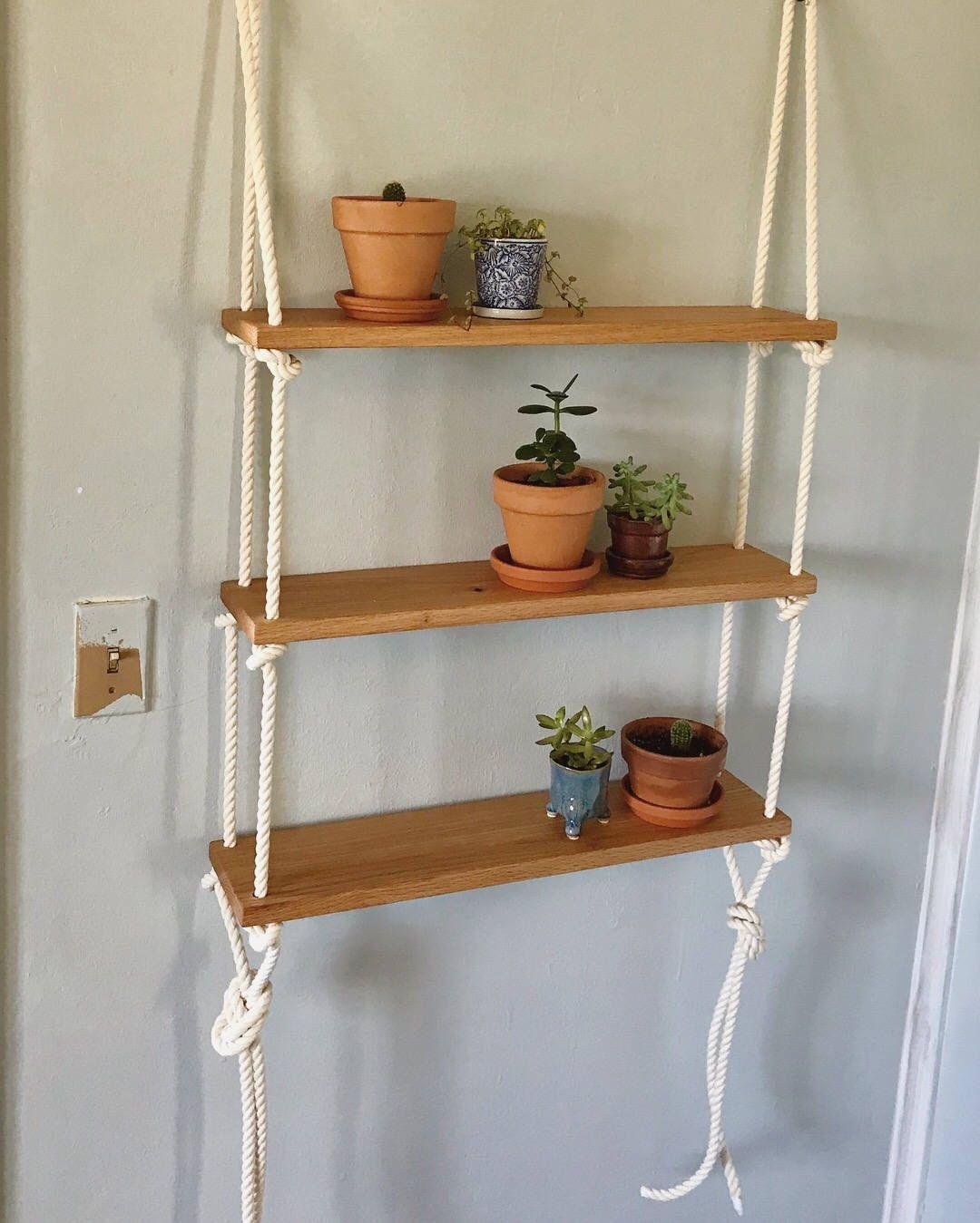 Custom Red Oak Rope Hardware Minimilist Hanging Shelf