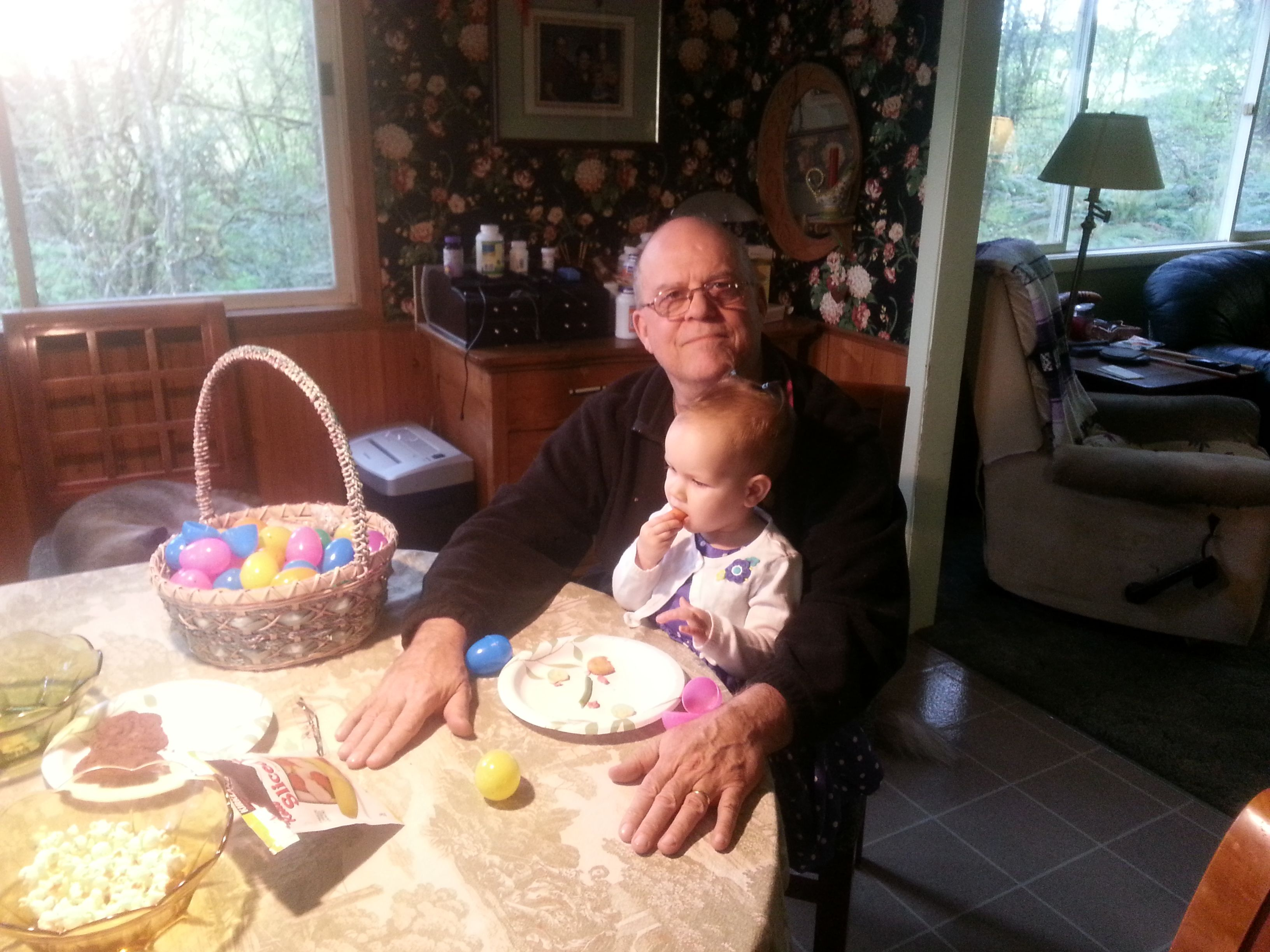 Grandpa gets to hold Ona. Easter 2014