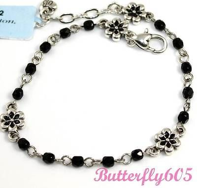 Anklets 43205: Brighton Mira Flor Black Bead Anklet - Nwt $37 BUY IT NOW ONLY: $33.29