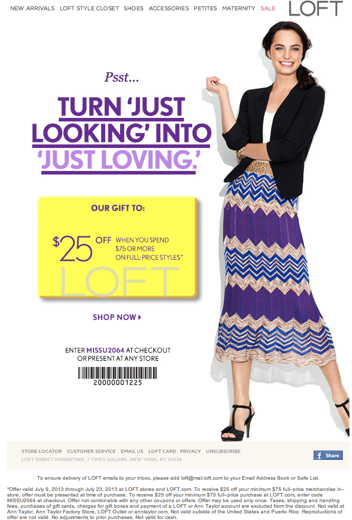 graphic about Loft Coupon Printable named $25 off $75 or much more total price tag products Ann Taylor Loft