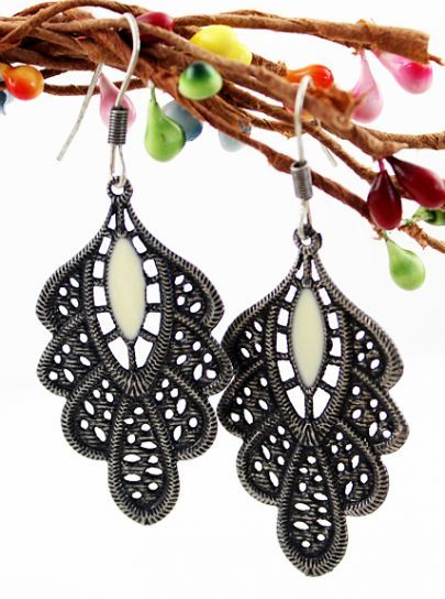 cce10c1801 Retro Silver Hollow Out Leaf Dangle Earrings #SheInside | Chic ...