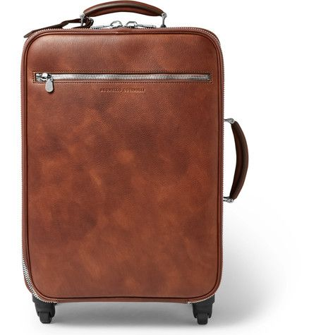 BRUNELLO CUCINELLI Burnished-Leather Trolley Case. #brunellocucinelli #bags #trolley #leather #travel bags #