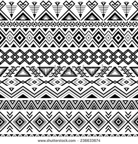 Ethnic Seamless Pattern Aztec Black White Background Tribal