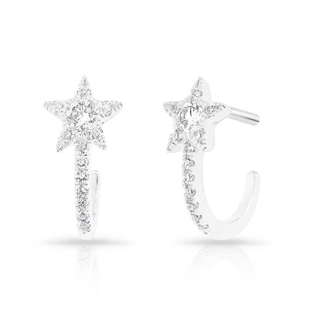 9fff6bea8 14KT White Gold Diamond Curved Star Huggie Earrings | Products ...
