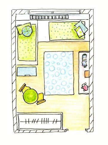 Un dormitorio infantil para dos dos camas y zona de for Dormitorios infantiles para dos