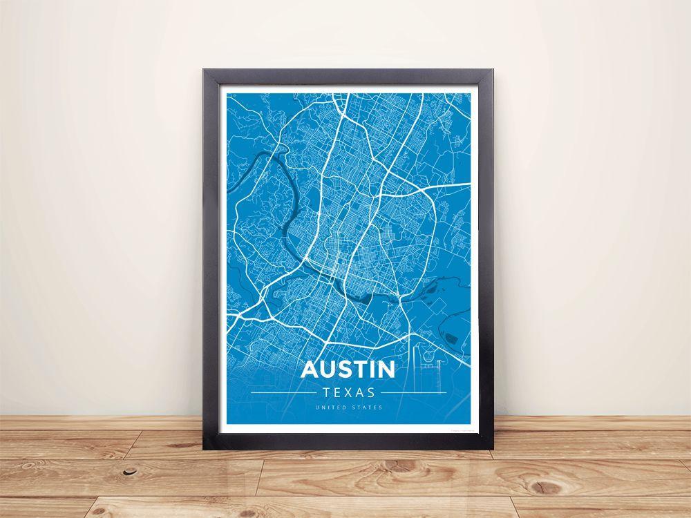 Framed Map Poster of Austin Texas - Modern Blue Contrast - Austin ...