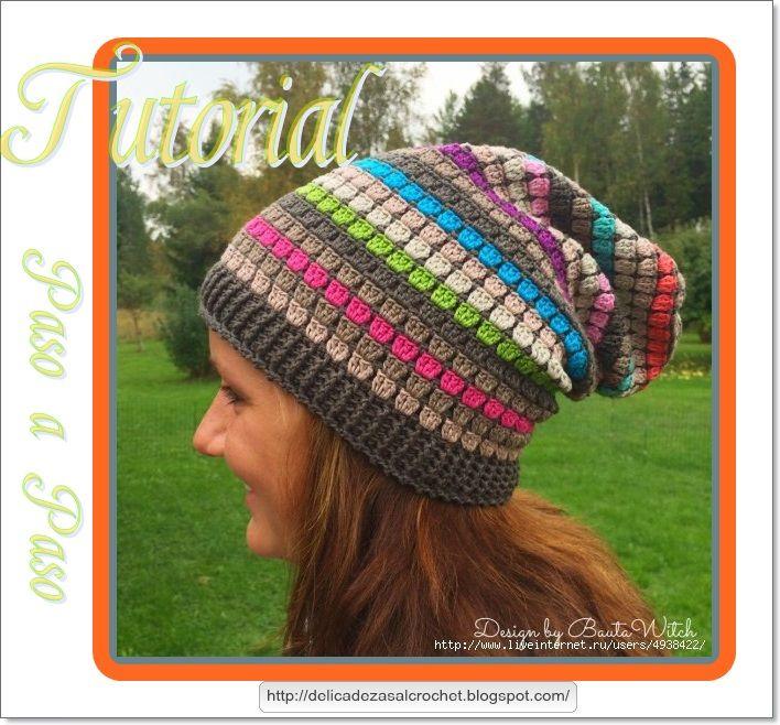 Delicadezas en crochet Gabriela: Gorro multicolor con caída incluye ...