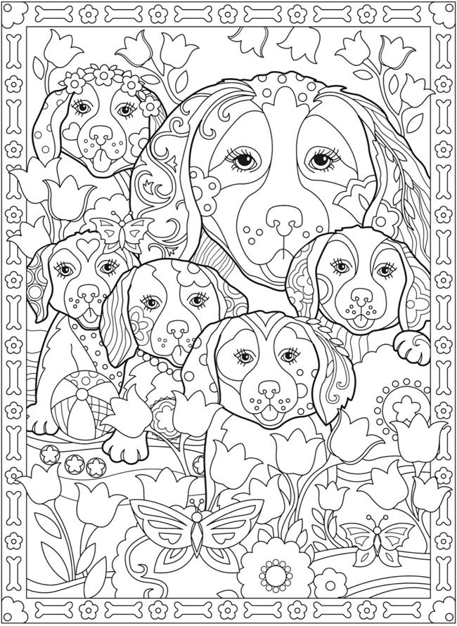 Creative Haven Playful Puppies Coloring Book By Marjorie