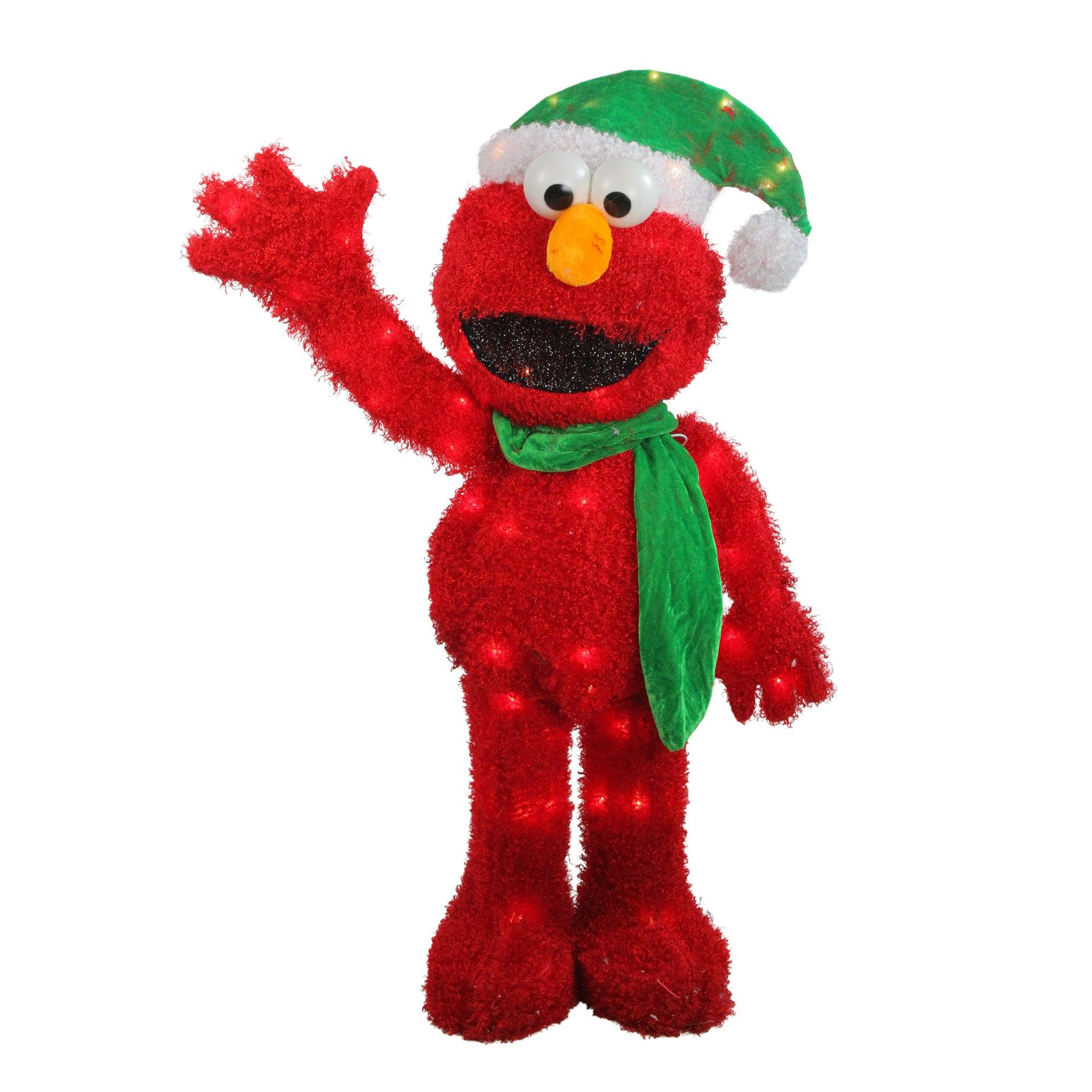 "Pre Lit Christmas Tree Fuses: Northlight 32"" Pre-Lit Soft Faux Fur Sesame Street Elmo"