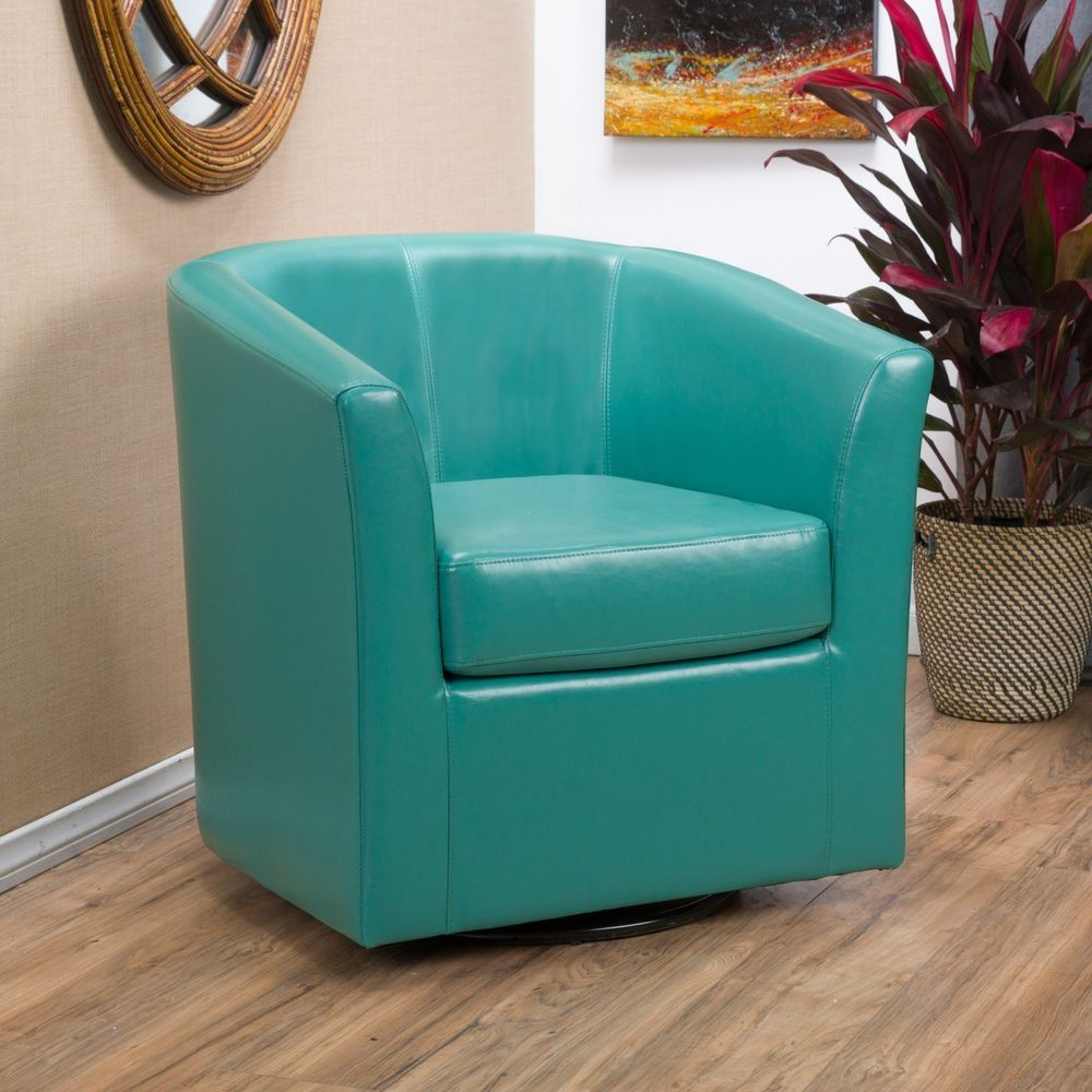 Contemporary turquoise leather swivel club chair swivel