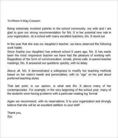Sample Letter of Recommendation for Teacher - 18+ Documents in - letter of recommendation word template