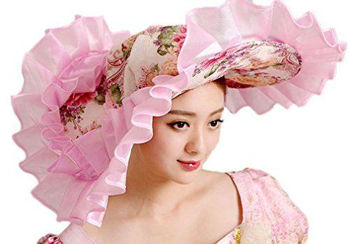 Soojun Women s 1800s Era Misses Wide Brim Victorian Hats for Party ... fc548110287